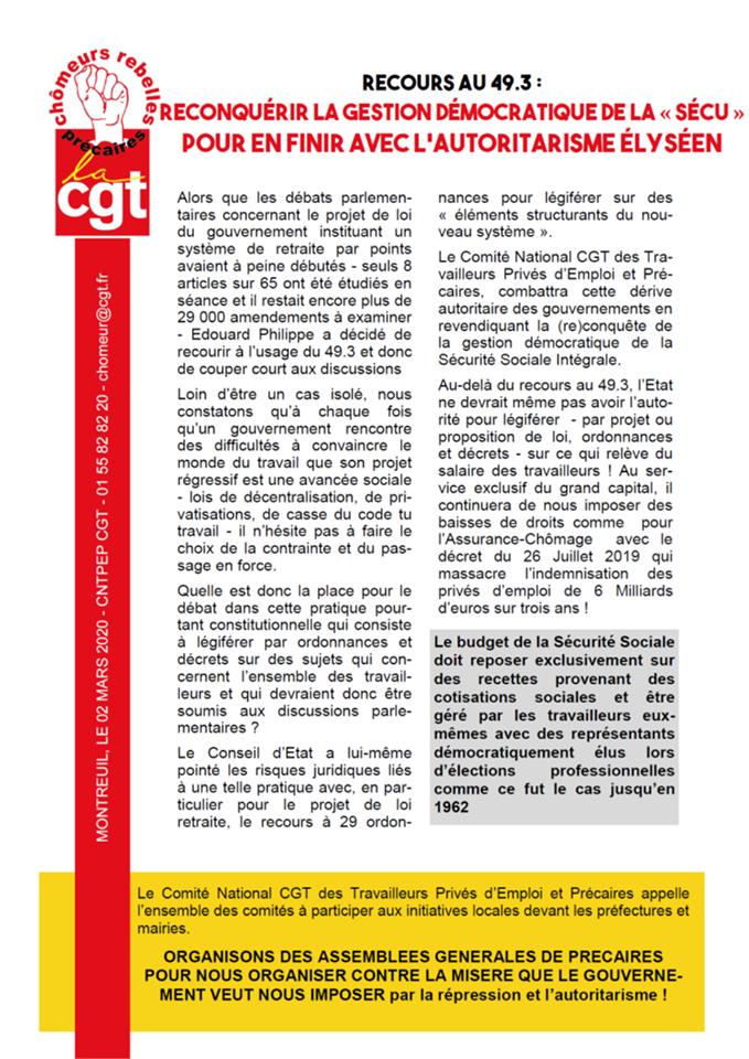49-3 retraites CNTPEP-CGT