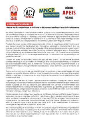 Tribune - Assurance chômage : l'heure est à l'abandon de la réforme et à l'indemnisation de 100% des chômeurs