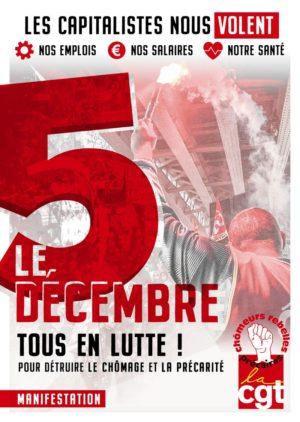 5 décembre tous en lutte pour détruire le chomage et la précarité - manifestation